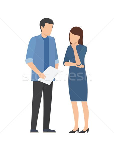 Coopération homme femme travaux démarrage Photo stock © robuart