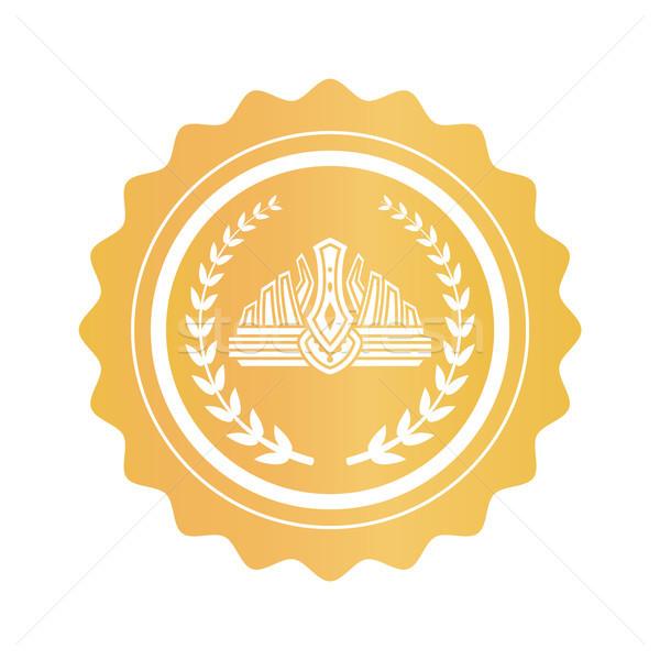 Korona bent babér koszorú arany bélyeg Stock fotó © robuart