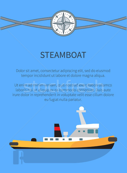Steamboat Poster Text Sample Vector Illustration Stock photo © robuart