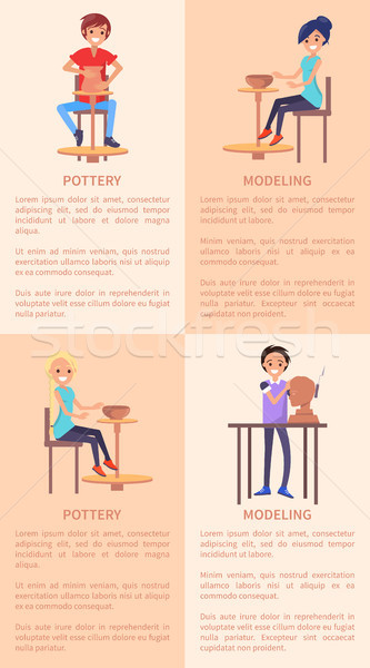Pottery and Modeling Posters with People and Text Stock photo © robuart