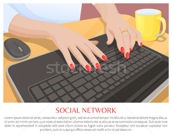 Social Network Promo Banner with Hands on Keyboard Stock photo © robuart
