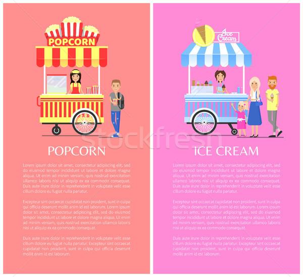 Popcorn and Ice Cream Set Vector Illustration Stock photo © robuart