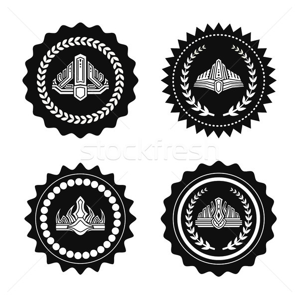 Crowns on Royal Seals Monochrome Illustrations Set Stock photo © robuart