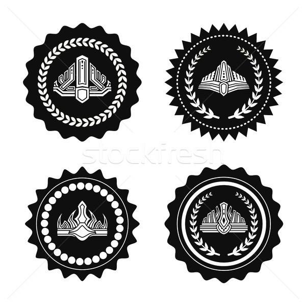 Koninklijk monochroom illustraties ingesteld laurier golvend Stockfoto © robuart