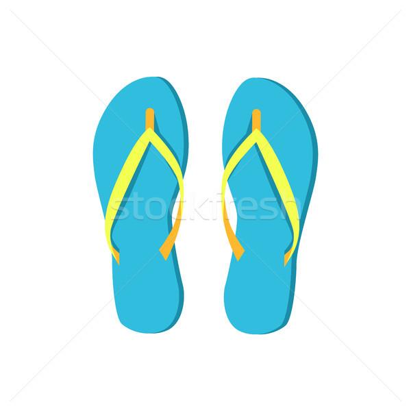 Blauw zomerschoenen comfortabel vrouwen rubber Stockfoto © robuart