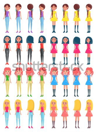 Choose Appearance for Animated Girl Character Set Stock photo © robuart