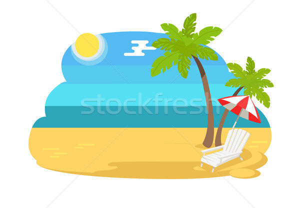 Seaview Seascape with Tropical Beach Chaise Longue Stock photo © robuart