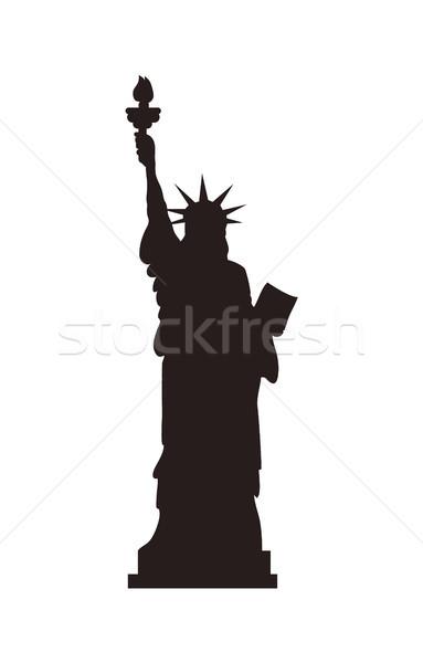 американский статуя свободы стоять черный силуэта Сток-фото © robuart