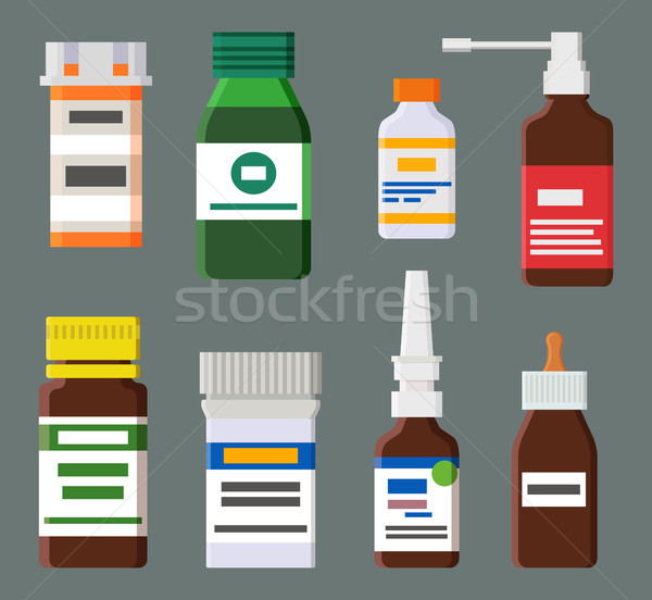 Medicines for Cough and Runny Nose in Bottles Stock photo © robuart