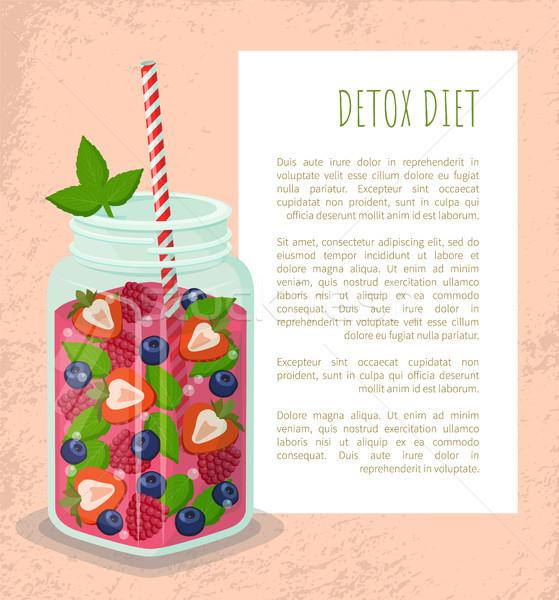 Detoxikáló diéta poszter bögre frissítő eper Stock fotó © robuart