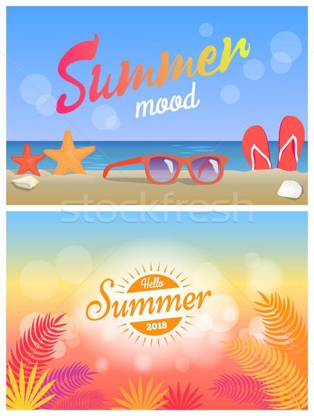Lata nastrój Hello summertime jasne plakaty Zdjęcia stock © robuart