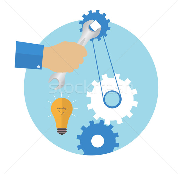 Hand with wrench. Repair icon Stock photo © robuart