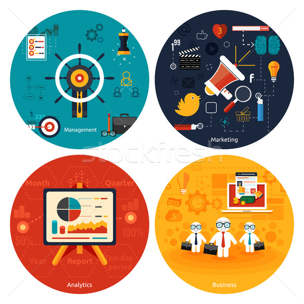 Iconen marketing beheer analytics business tools Stockfoto © robuart