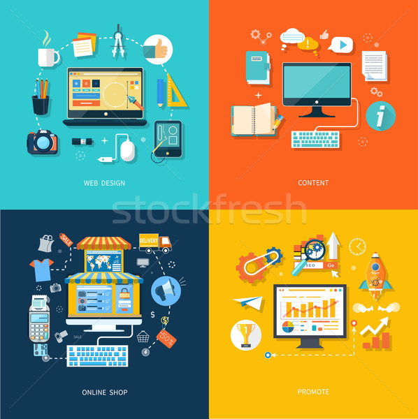 Internet shopping web design promote content Stock photo © robuart
