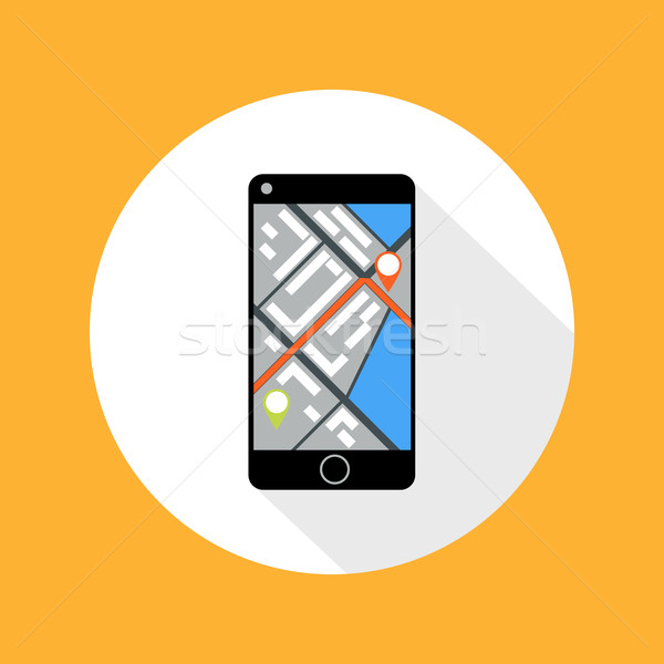 Stock photo: Smartphone with map