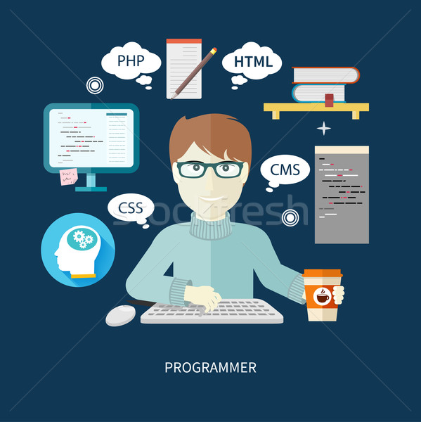Male programmer with digital devices on workplace Stock photo © robuart
