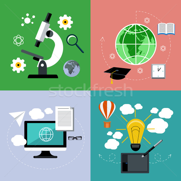 E learning and online education icons set Stock photo © robuart