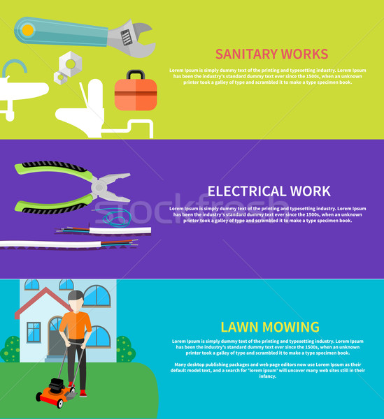 Sanitary, electrical work, lawn mowing Stock photo © robuart
