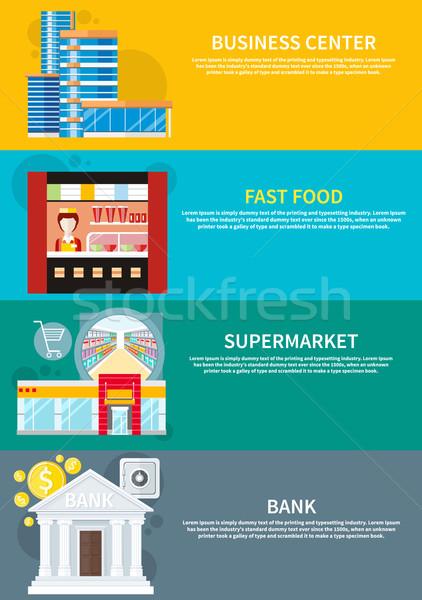 Business centrum supermarkt bank fast food moderne Stockfoto © robuart