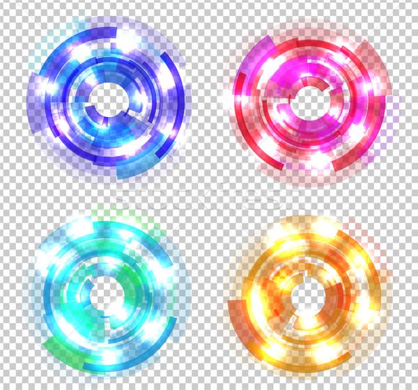 Ayarlamak soyut renkli circles şeffaf iş logo Stok fotoğraf © robuart