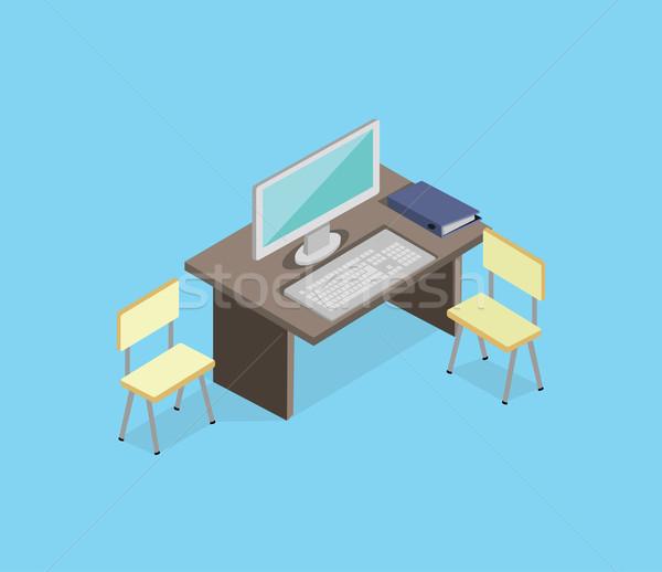 Photo stock: Travail · vide · isolé · design · isométrique · 3D