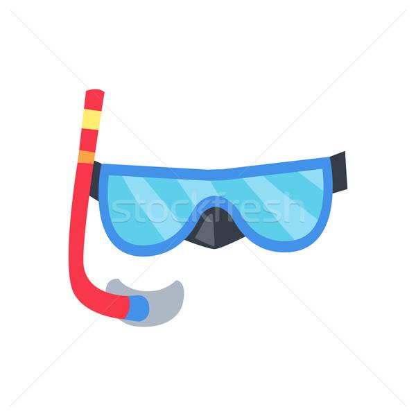 マスク 管 ダイビング 青 赤 シュノーケル ストックフォト © robuart
