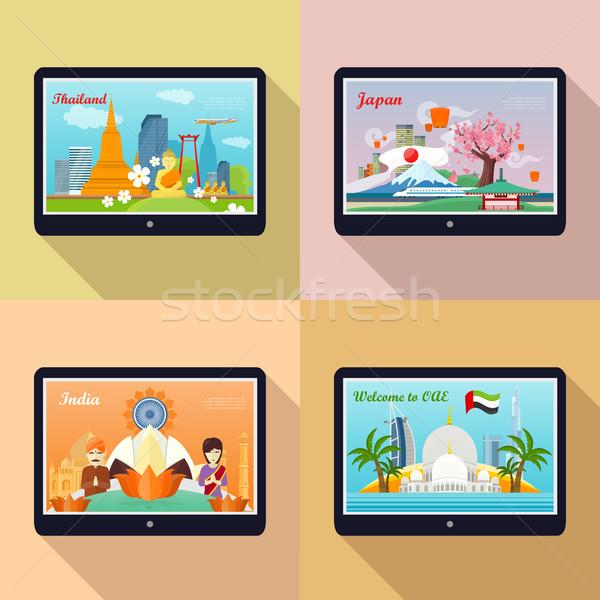 ストックフォト: セット · 広告 · バナー · アジア · 歓迎
