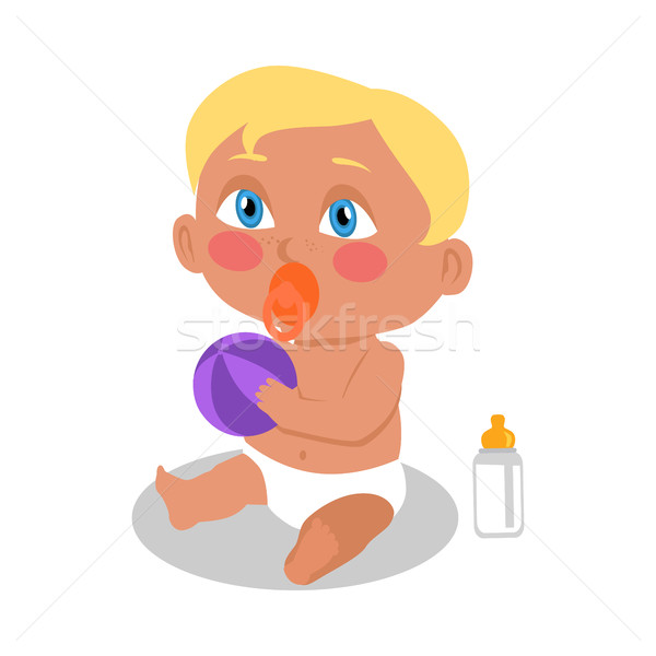 Baby Sitting on the Floor with a Ball. Stock photo © robuart
