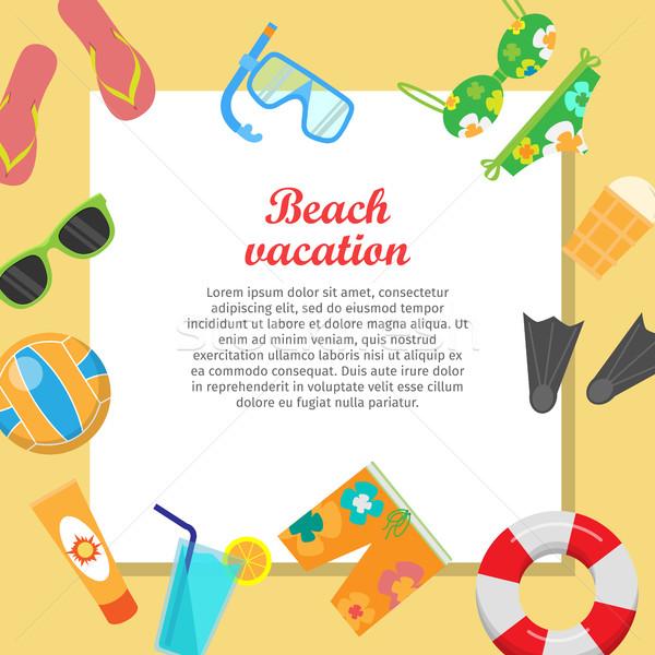Foto stock: Praia · férias · vetor · estilo · projeto · lugar