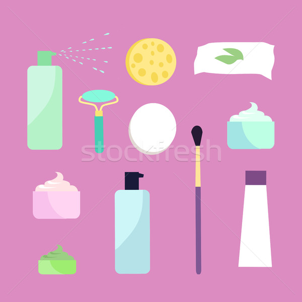 Elements for Girls Face Wash. Makeup Tools. Vector Stock photo © robuart