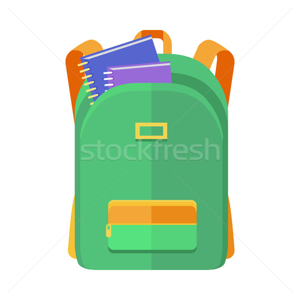 Green Backpack Schoolbag Icon with Notebooks Stock photo © robuart