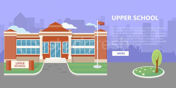 Escuela edificio vector estilo diseno público Foto stock © robuart