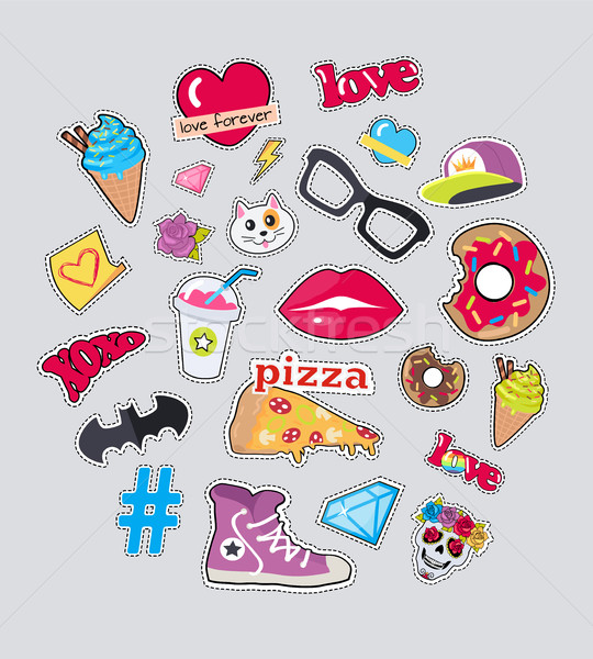 Collection of Things for Teens Vector Stickers Set Stock photo © robuart