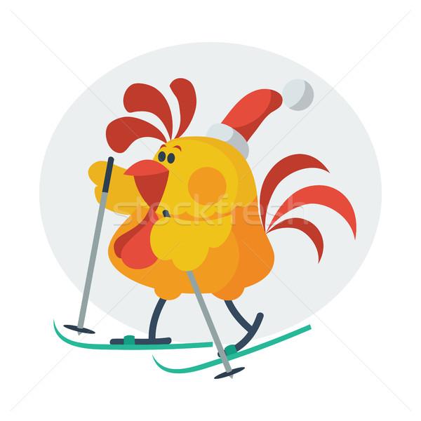 Rooster Bird Skate on Ski. Cock in Santa s Hat Stock photo © robuart