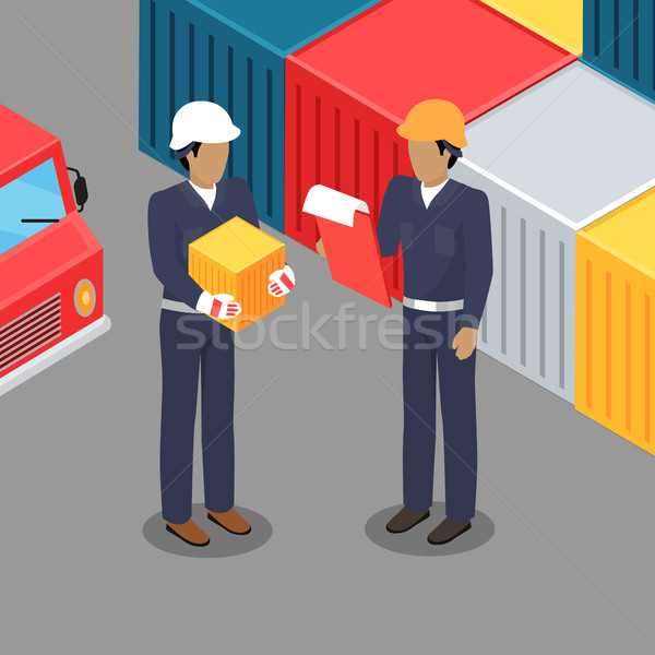 Cargo Worker and Foreman Talking in Warehouse. Stock photo © robuart
