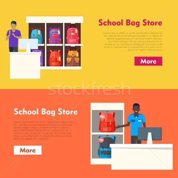 школы сумку магазине два предлагающий Баннеры Сток-фото © robuart