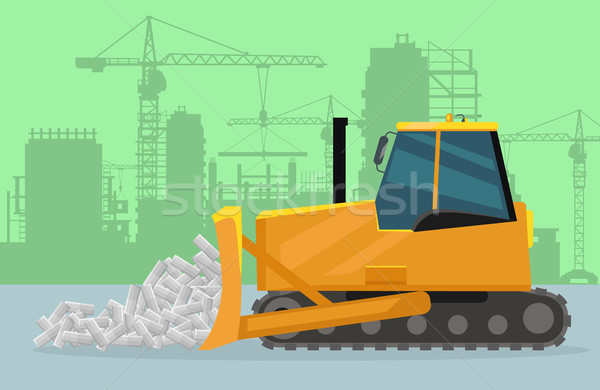 Bulldozer on Construction Flat Vector Concept Stock photo © robuart