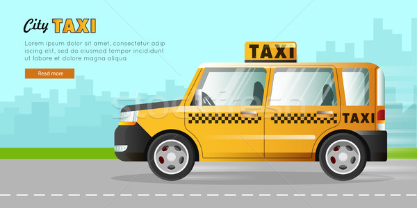 Yellow Taxi with Checker on the Road in City. Stock photo © robuart