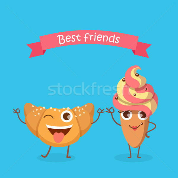 Sweets. Best Friends. Smiling Croissant and Cake Stock photo © robuart
