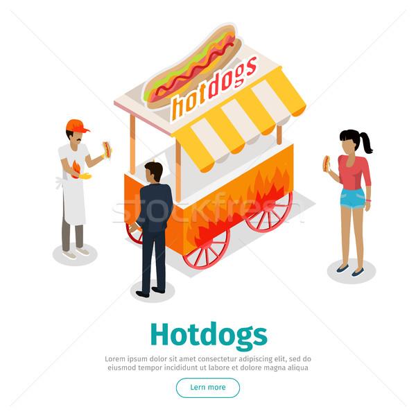 Hotdogs Conceptual Isometric Vector Web Banner Stock photo © robuart
