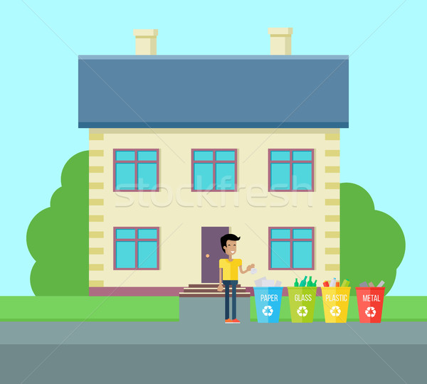 家庭 ゴミ 実例 ベクトル デザイン 笑みを浮かべて ストックフォト © robuart