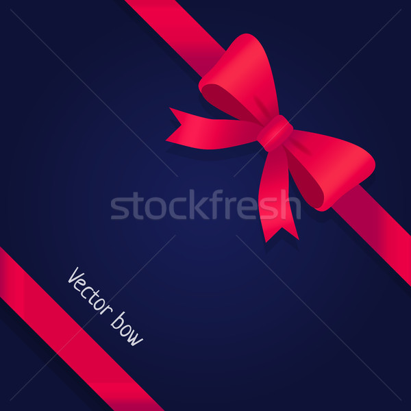 Vector Bow. Shiny Wide Red Ribbons. Two Petals Stock photo © robuart