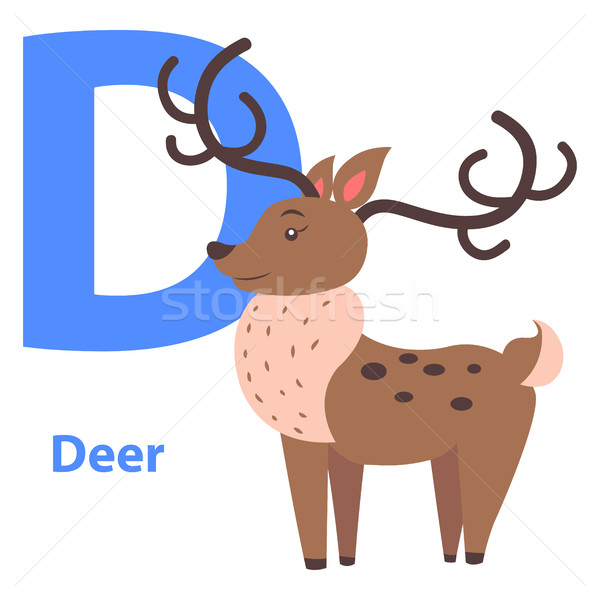 Funny Alphabet with Cartoon Animal Blue Letter D Stock photo © robuart