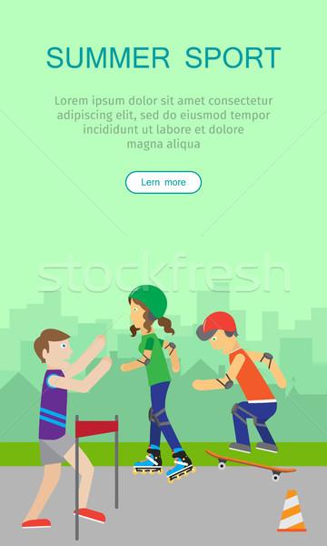 Children Going in for Sport Web Banner Poster. Stock photo © robuart