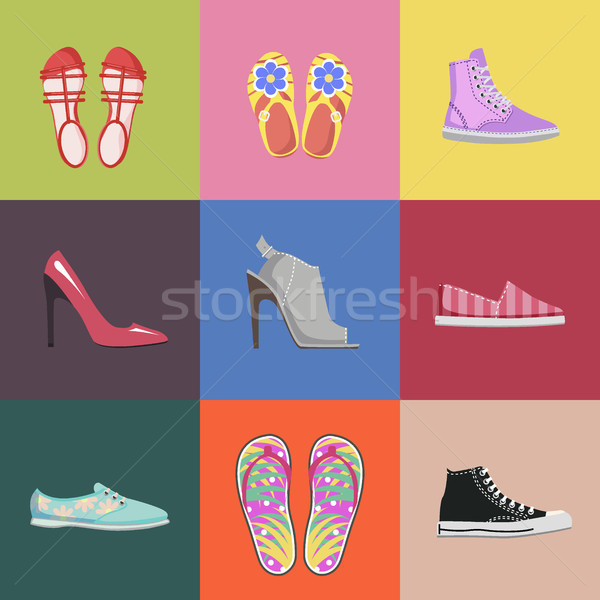 Stock photo: Fashionable Shoes Collection Advertising Poster