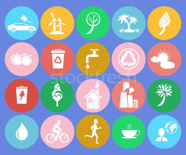 Ecology Saving Themed Round Colorful Icons Stock photo © robuart