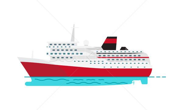 Espaçoso luxo cruzeiro grande vermelho navio a vapor Foto stock © robuart