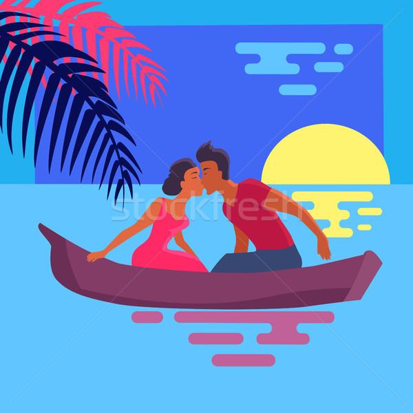 пару любви Purple каноэ закат воды Сток-фото © robuart