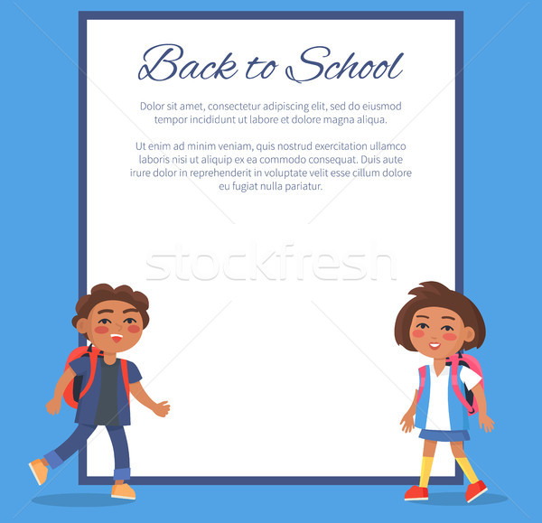 Back to School Poster with Brunette Girl and Boy Stock photo © robuart
