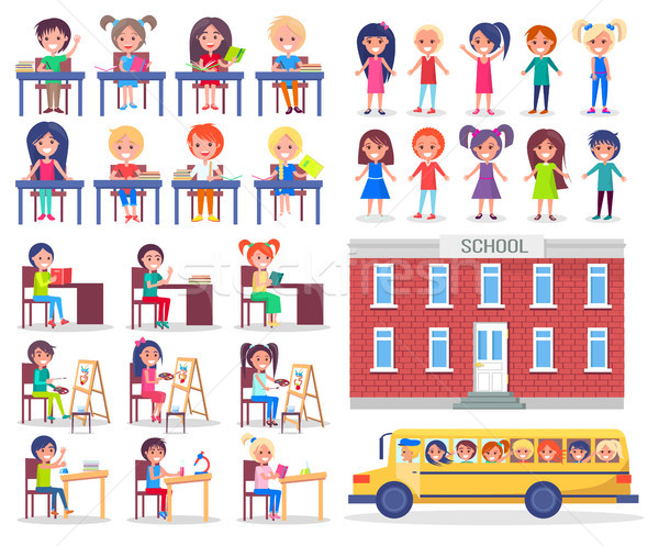 Enfants bus scolaire s'asseoir lire livres Photo stock © robuart